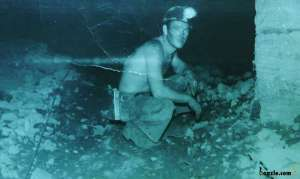 Dennis Henderson in the Wittenoom mine, 1957 - Photo supplied by Roan Henderson