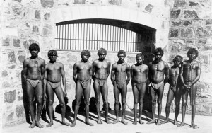 "Roebourne Prison inmates – for crimes like 'absconding' from 'blackbirding' – slavery. Those who resisted strongly were sent to Wadjemup (Rottnest Island) and Fremantle Prison – most never to return. The word they used for policeman was ""Marndamarangga"" and means ""chainhand"" and is still used today. (Photo: Battye Library, WA)"