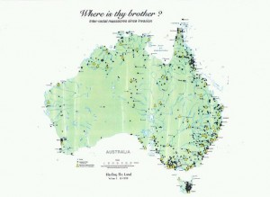 The map is from the book 'Where is thy brother? : inter-racial massacres since invasion'. Originally published in Judith Monticone's Healing the land : a closer look at needs of the Australian (re)conciliation movement, by Healing the Land 1999. - courtesy of treatyrepublic.org