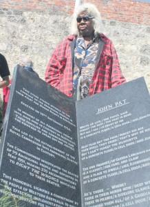 Mavis Pat at her son's memorial, 29 years later - Photo, Gerry Georgatos