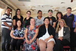 National Empowerment Project: William 'Biri' Duffin (Kuaranda, Qld), Cheviena Hansen (Perth, WA), Angela Ryder (Perth, WA), Dezerae Miller (Northam, WA), Andy Charles (Mildura, Vic), Glenys McGrady (Toomelah, NSW), Terry Brennan (Mildura, Vic) - seated - Vanessa McGuire (Narrogin, WA), Donna Ingram (Sydney, NSW), Adele Cox (Perth/Kimberley, WA), Professor Pat Dudgeon (Perth/Kimberley WA)
