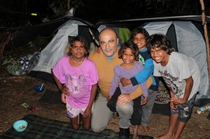 The writer with four of the six kids from a family in need of a home.