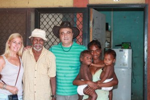 Broome-based photojournalist, Ingetje Tadros, Elder Roy Hunter Higgin, Gerry Georgatos and Mr Higgin's granddaughter and two of his grandchildren.