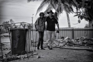 One Mile Community, Broome – Gerry Georgatos with a gentleman, Ricky, who deserves better than the deplorable neglect that society is still dishing out. Photographer: Ingetie Tadros