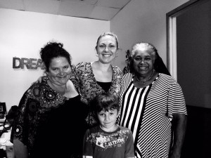 At Yallburru non-profit organization helping Aboriginal and Torres Strait Islanders in need, with Director Annie Woodcock, my son and myself and Elder and founder of Black and Deadly Aunty Patricia Leavy - Photo, Saffron Hill