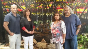 Suicide prevention researcher Gerry Georgatos, race relations practitioner Kath Groves with Dumbartung Aboriginal Corporation directors, Selina and Robert Eggington. Dumbartung and Kyana Gallery, 28 years and strong.