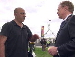 At Sit-In: Gerry Georgatos discusses Closure of WA Aboriginal Homelands with Hugh Riminton
