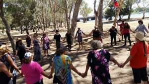 Women gather at Matargarup to reclaim and re-establish Aboriginal Tent Embassy.