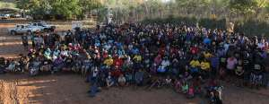 400 people gathered at Jarlmadangah Homeland community last September for this photo message to the Western Australian Government that they object to the watering down of the Aboriginal Heritage Act - Photo, Cornell Ozies, courtesy of the Kimberley Aboriginal Law and Cultural Centre (KALACC)