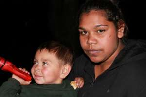 Two year old Jerry Winmar with his mum Paige, both homeless and with nowhere to go. This is why we are fighting for homeless friendly precincts - Photo, Gerry Georgatos