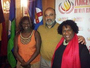 Yalmay Yunupingu and Gail Mabo with Gerry Georgatos at the inaugural National Indigenous Human Rights Awards
