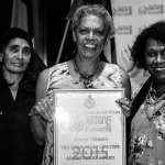 Barbara McGrady - one of last year's award recipients and one of this year's judges - Eddie Mabo Award recipient, Jenny Munro and presenter of the Eddie Mabo Award, Gail Mabo - Photo, Lisa Hogben.