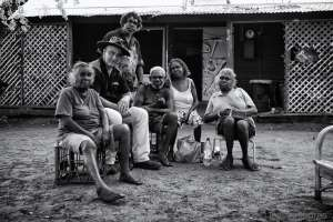Gerry Georgatos with residents of One Mile Community, Broome - Photo, Ingetje Tadros - September 2014