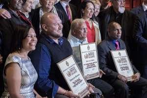3rd annual National Indigenous Human Rights Awards - MC Natalie Ahmat, award winners, Dameyon Bonson, Mervyn Eades and Lex Wotton