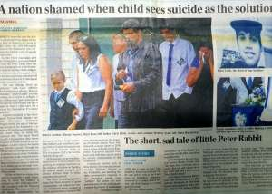 """A nation shamed when child sees suicide as the solution"" - November 8, 2014, The Australian newspaper front page"